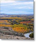 Autumn Colors On The Ebro River Metal Print