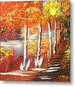 Autumn Falling Leaves  Metal Print