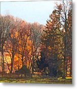 Autumn Farm With Harrow Metal Print