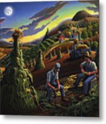 Autumn Farmers Shucking Corn Appalachian Rural Farm Country Harvesting Landscape - Harvest Folk Art Metal Print