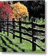 Autumn Fence And Shadows Metal Print