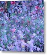 Autumn Flowers In Blue Metal Print