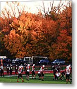Autumn Football With Dry Brush Effect Metal Print