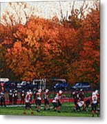 Autumn Football With Sponge Painting Effect Metal Print