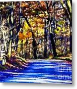 Autumn Forest Road V6 Metal Print