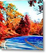 Autumn Forest Road V7 Metal Print