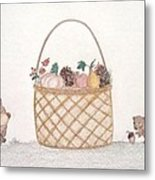 Autumn Fruit Basket And Bears Metal Print by Christine Corretti
