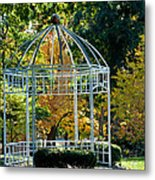 Autumn Gazebo Metal Print