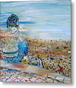 Autumn - Girl At The Lake Metal Print