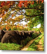 Autumn Hay Bales Blue Ridge Mountains II Metal Print