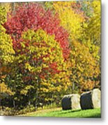 Autumn Hay Being Harvested In Maine Metal Print