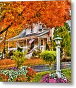 Autumn - House - The Beauty Of Autumn Metal Print by Mike Savad
