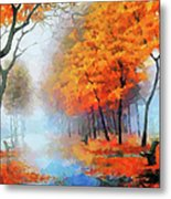 Autumn In The Morning Mist Metal Print