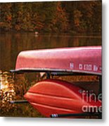 Autumn Kayaks On Newport Lake Metal Print