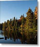 Autumn Lake In The Forest - Reflection Tranquility Metal Print