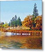 Autumn Lake In The Woods Metal Print