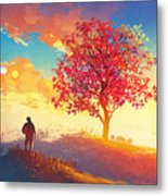 Autumn Landscape With Alone Tree On Metal Print