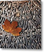 Autumn Leave On Iron Grate Metal Print