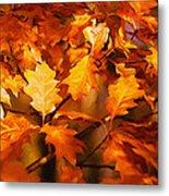 Autumn Leaves Oil Metal Print