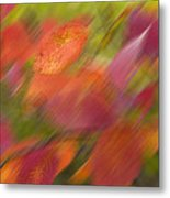 Autumn Leaves On The Abstract Background Metal Print