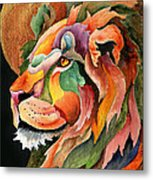 Autumn Lion Metal Print