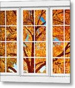 Autumn Maple Tree View Through A White Picture Window Frame Metal Print