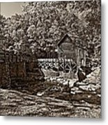 Autumn Mill Sepia Metal Print