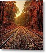 Autumn On The Tracks Metal Print