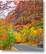 Autumn On Zion Canyon Scenic Drive In Zion National Park-utah  Metal Print