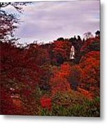 Autumn Pagoda Metal Print