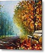 Autumn Park - Palette Knife Oil Painting On Canvas By Leonid Afremov Metal Print