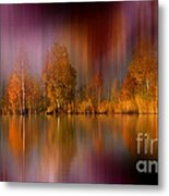Autumn Reflection Digital Photo Art Metal Print