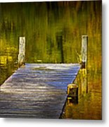 Autumn Reflections And Boat Dock On A Pond Near Yankee Springs Michigan Metal Print