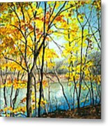 Autumn River Walk Metal Print