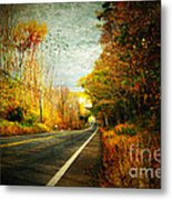 Autumn Road Connecticut Usa Metal Print