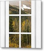 Autumn Rocky Mountain Glacier View Through A White Window Frame  Metal Print
