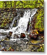 Autumn Scene With Waterfall In Forest Metal Print