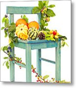 Autumn Still Life Chair Metal Print