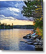 Autumn Sunset At Lake Metal Print