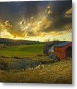 Autumn Sunset Over Meech Creek And Metal Print