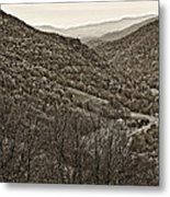 Autumn Valley Sepia Metal Print