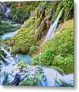 Autumn Valley Waterfalls Metal Print