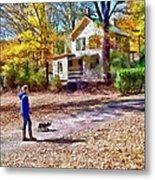 Autumn - Walking The Dog Metal Print