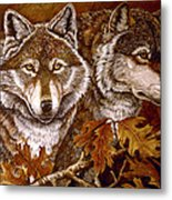 Autumn Wolves Metal Print