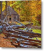 Autumn Wooden Fence Metal Print