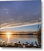 Autumnal Sunset At Del Norte Pier Metal Print