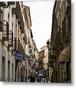 Avila Street Blue Umbrella Metal Print