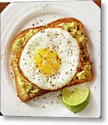 Avocado Toast With A Fried Egg Metal Print