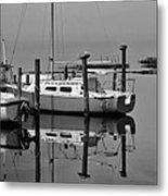 Avon Harbor Calm Reflection Bxw 1/13 Metal Print