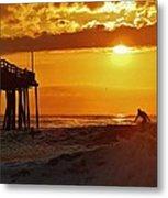 Avon Pier Sunrise Surfer 2 9/08 Metal Print